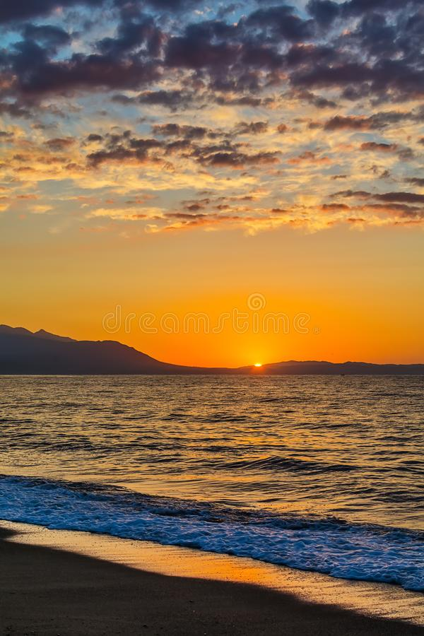 Early morning , dramatic sunrise over sea. Photographed in Asprovalta, Greece. Early morning , dramatic sunrise over sea. Photographed in Asprovalta, Greece royalty free stock photography