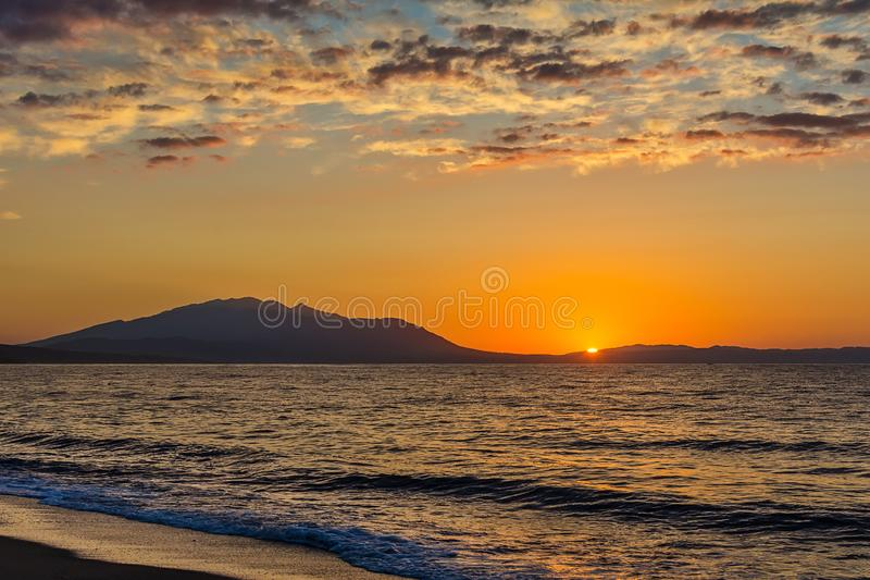 Early morning , dramatic sunrise over sea. Photographed in Asprovalta, Greece. Early morning , dramatic sunrise over sea. Photographed in Asprovalta, Greece royalty free stock images