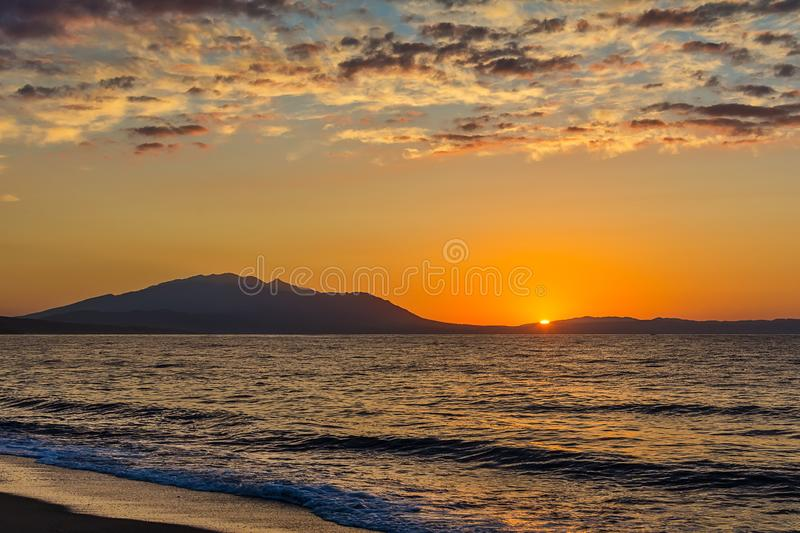 Early morning , dramatic sunrise over sea. Photographed in Asprovalta, Greece. Early morning , dramatic sunrise over sea. Photographed in Asprovalta, Greece stock photos