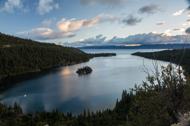 Early Morning in Emerald Bay. A view from above at Emerald Bay in Lake Tahoe, California in the early morning stock images