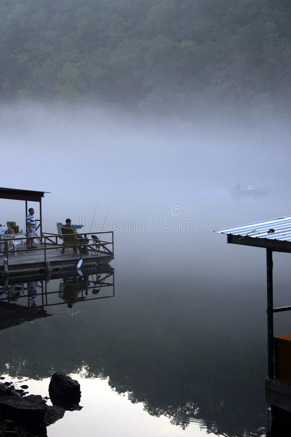 Early morning fishing royalty free stock photos