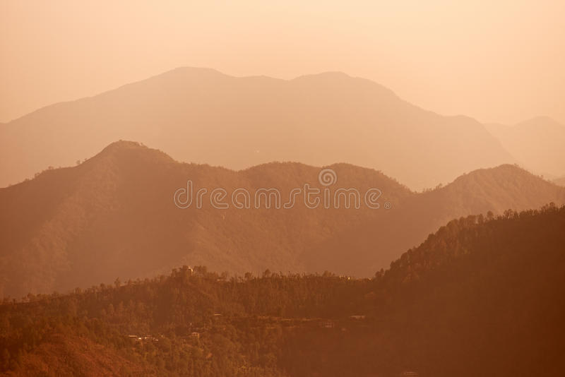 Early Morning Foggy Indian Himalayas Mountains Royalty Free Stock Photos