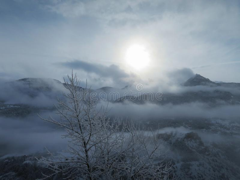 Early morning in French alps. Early morning in Franch alps near skiing Puy Saint Vincent stock images
