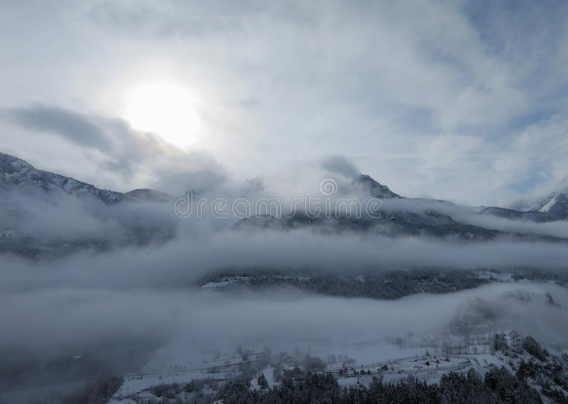 Early morning in French alps. Early morning in Franch alps on road to Briancon royalty free stock image