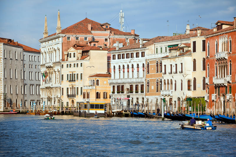 Early morning on Grand Canal in Venice city, Italy royalty free stock image