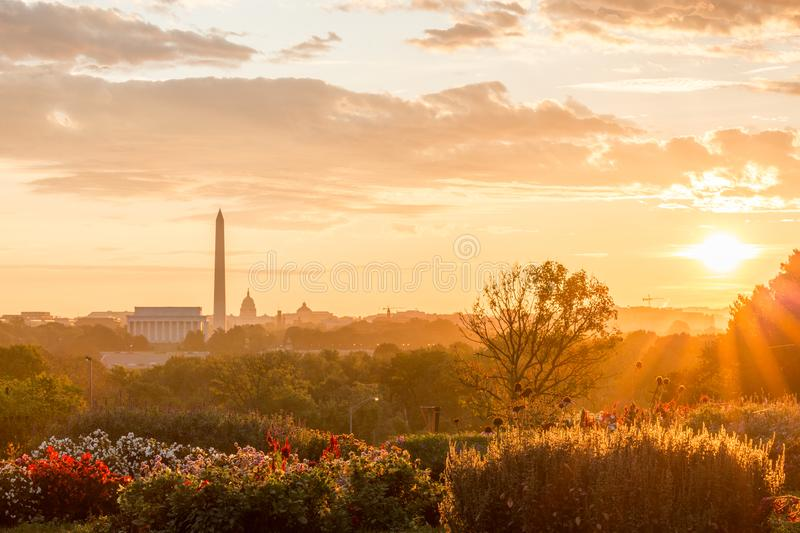 Lincoln Memorial, Washington Monument, United States Capital. In a early morning, I went to a location in Virginia where Lincoln Memorial, Washington Monument stock image