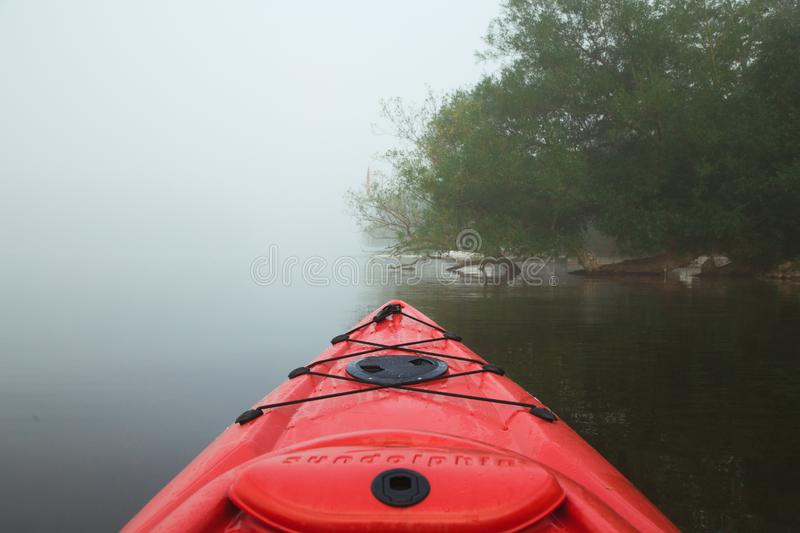 Early Morning Kayak Ride at the Cottage stock image