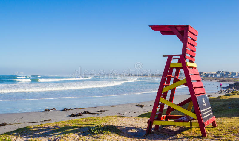 Early morning lifeguard tower on Atlantic Beach, Melkbosstrand, stock images