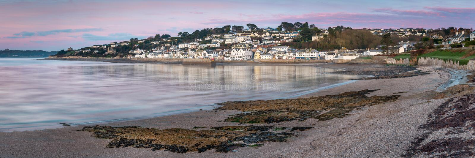 Early Morning light over St Mawes in South Cornwall stock images