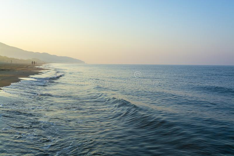 Early morning light during sunrise over Tyrrhenian sea near Sperlonga and Terracina, Lazio, Italy stock photography