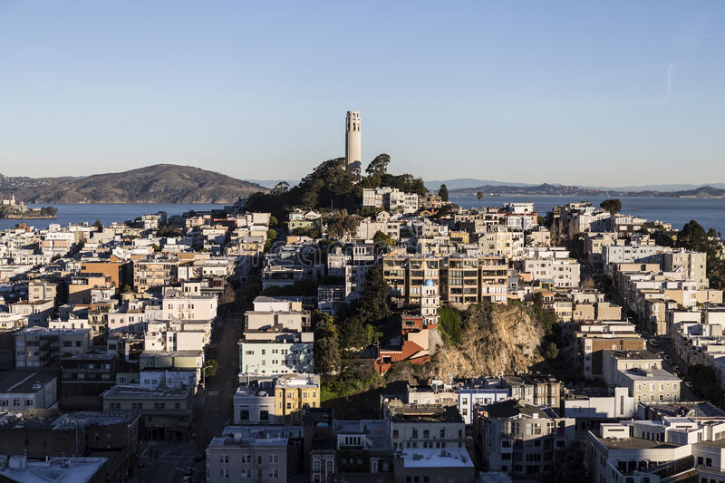 Early Morning Light on Telegraph Hill and Coit Tower Park in San Francisco, California.