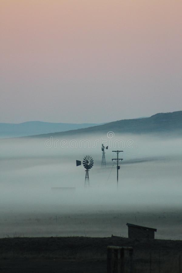 Early morning mist over a farm with windmills royalty free stock image