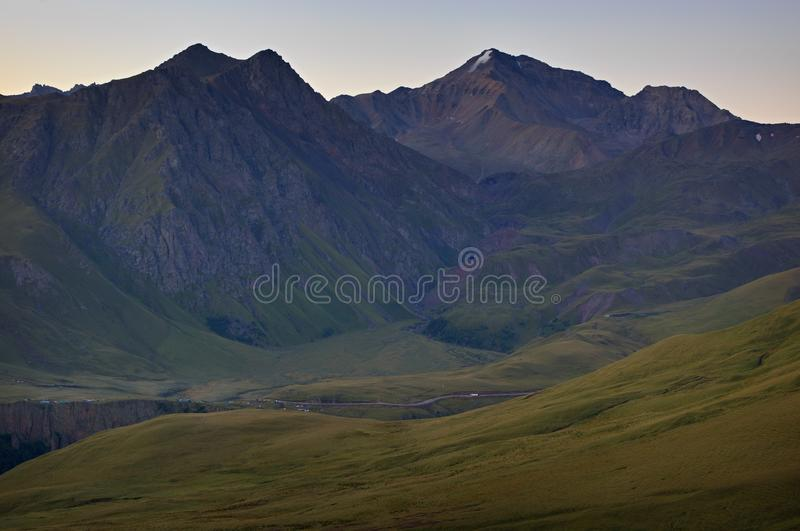 Early morning in the mountain area. Dawn over the mountains royalty free stock images