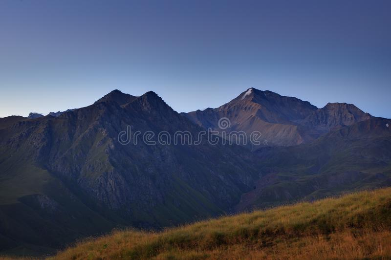 Early morning in the mountain area. Dawn over the mountains royalty free stock photos
