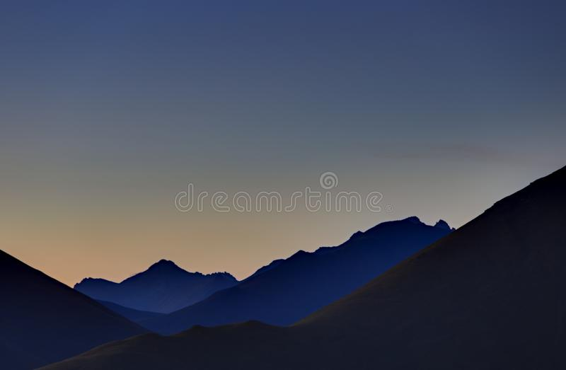 Early morning in the mountain area. Dawn over the mountains stock image