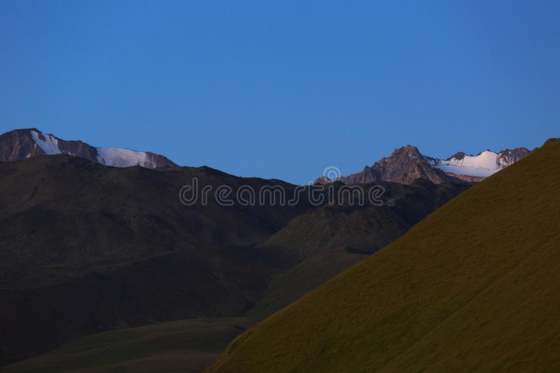 Early morning in the mountain area. Dawn over the mountains royalty free stock photography