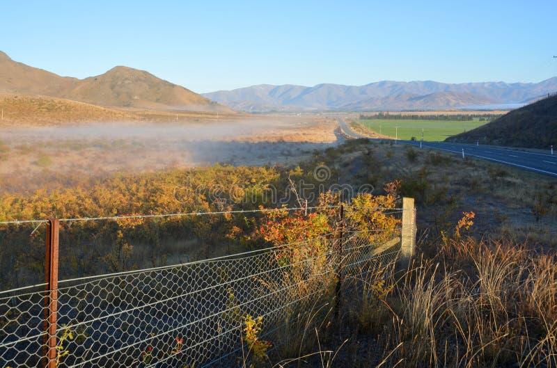 Early Morning in the Omarama Valley, Otago New Zealand stock photo