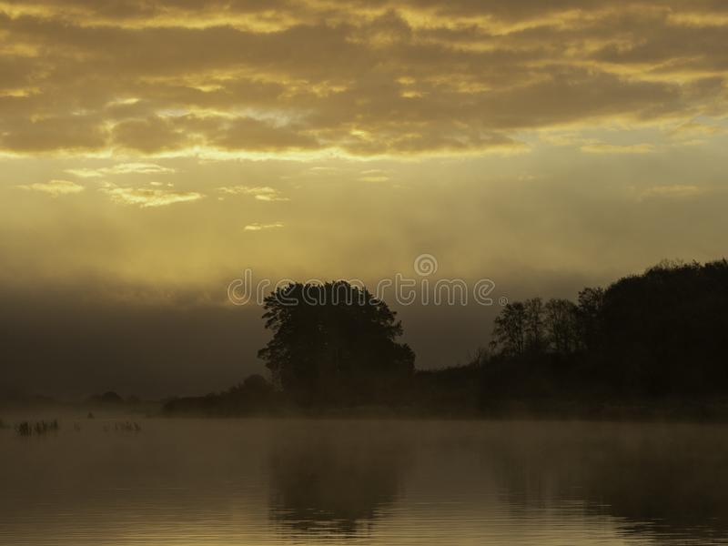 Early morning on the river with boats. Charming sunrise royalty free stock photos