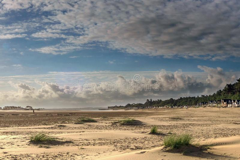 Early Morning Run on the Beach. The vast beach at Wells next the Sea was experiencing a beautiful start to the day. Great cloud formation and a sunny start after royalty free stock image