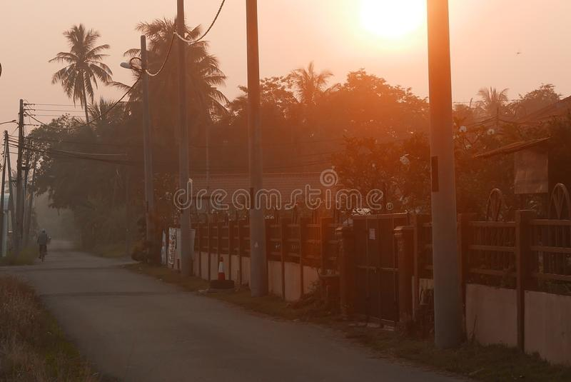Early morning scene of a village at Kedah,Malaysia stock photography