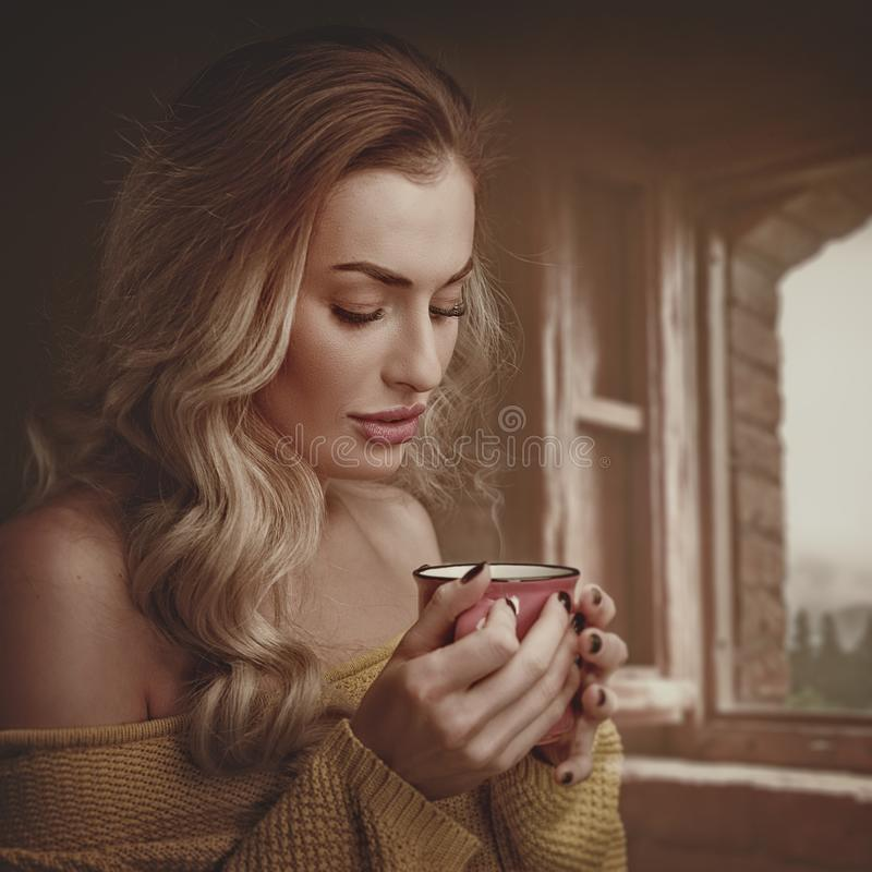 Early morning with scented coffee. royalty free stock images