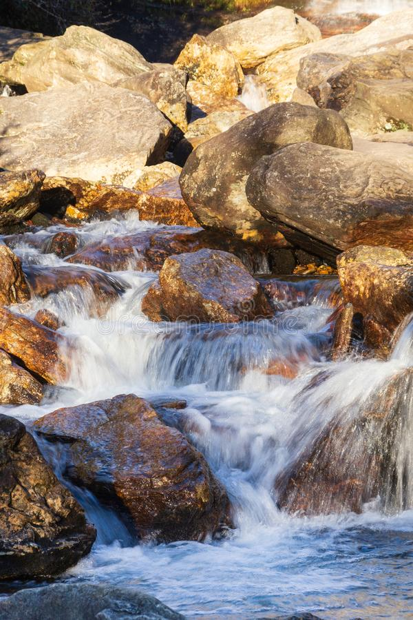 Second Falls at Graveyard Fields on the Blue Ridge Parkway in North Carolina one early morning. stock images