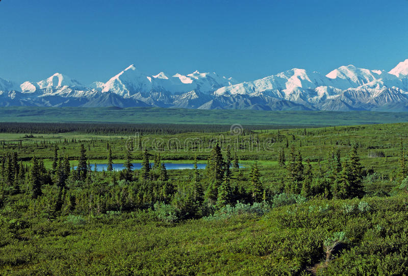 Early morning shadows on the Alaska Range stock photography