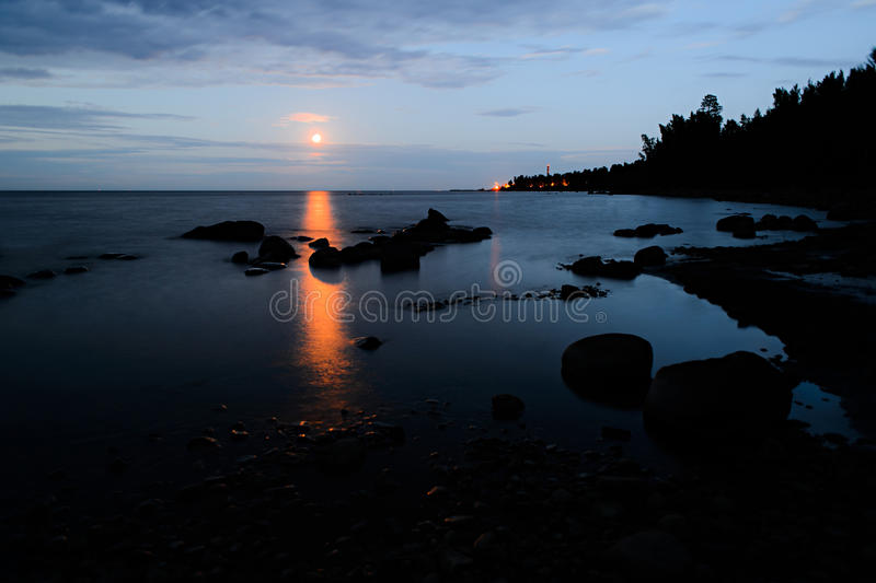 Early morning on the shore of Lake Ladoga royalty free stock photo