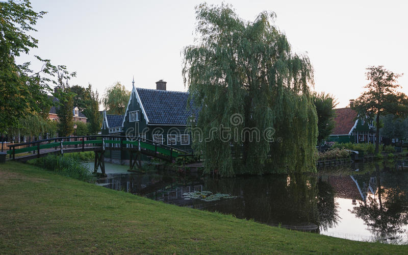 Early morning in a small Dutch village. Early morning in a small Dutch village of Zaanse Schans royalty free stock image