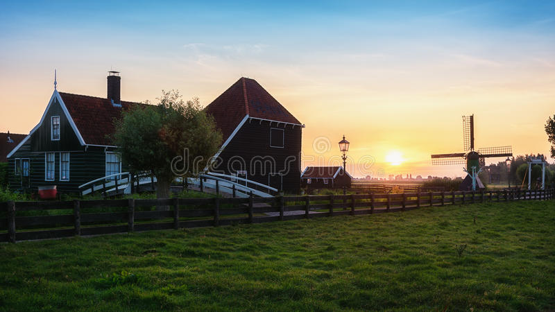 Early morning in a small Dutch village. Early morning in a small Dutch village of Zaanse Schans royalty free stock photo