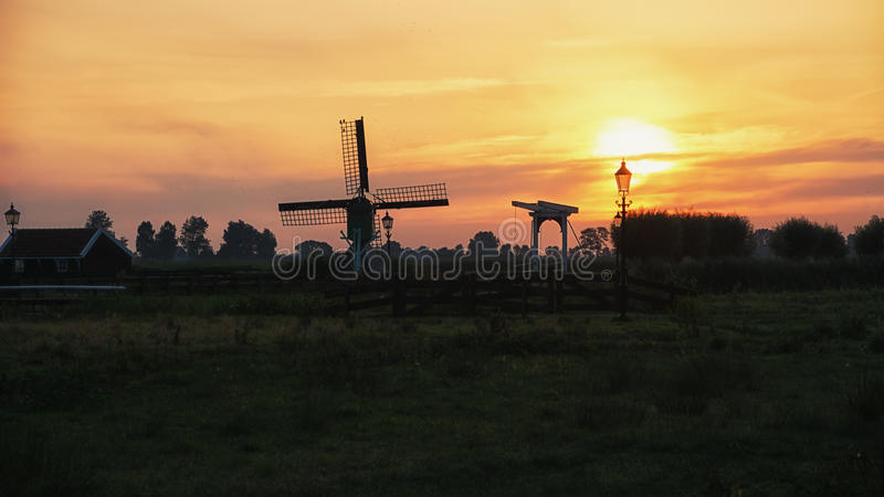 Early morning in a small Dutch village. Early morning in a small Dutch village of Zaanse Schans royalty free stock photos