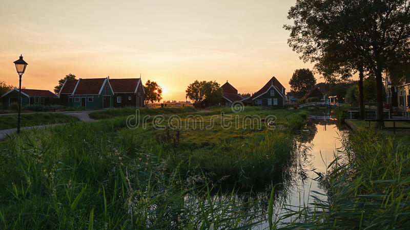 Early morning in a small Dutch village. Early morning in a small Dutch village of Zaanse Schans stock photography