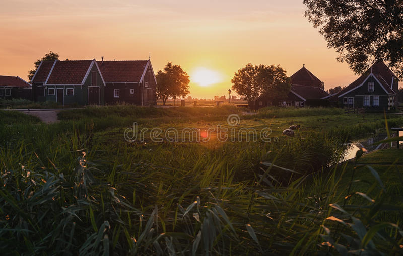 Early morning in a small Dutch village. Early morning in a small Dutch village of Zaanse Schans stock images