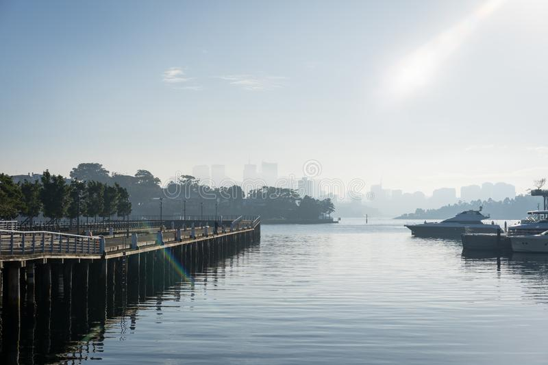 Early morning sun haze over the water at Pirrama Park/Jones Bay Wharf, Sydney NSW. June 2019. Taken from the boardwalk section of Pirrama Park. Portrait royalty free stock photo