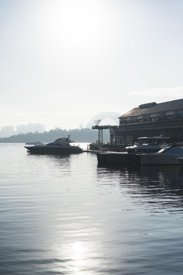 Early morning sun haze over the water at Pirrama Park/Jones Bay Wharf, Sydney NSW. June 2019. Taken from the boardwalk section of Pirrama Park. Portrait stock photo