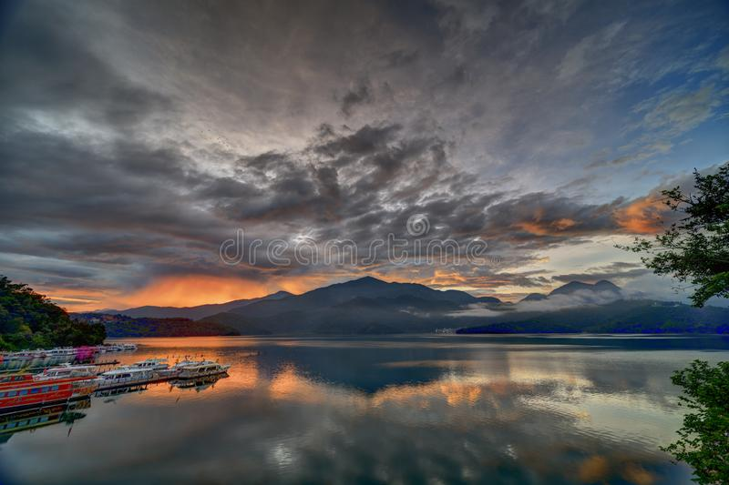 Early morning sunrise at the famous Sun Moon Lake in Nantou, Taiwan stock photography