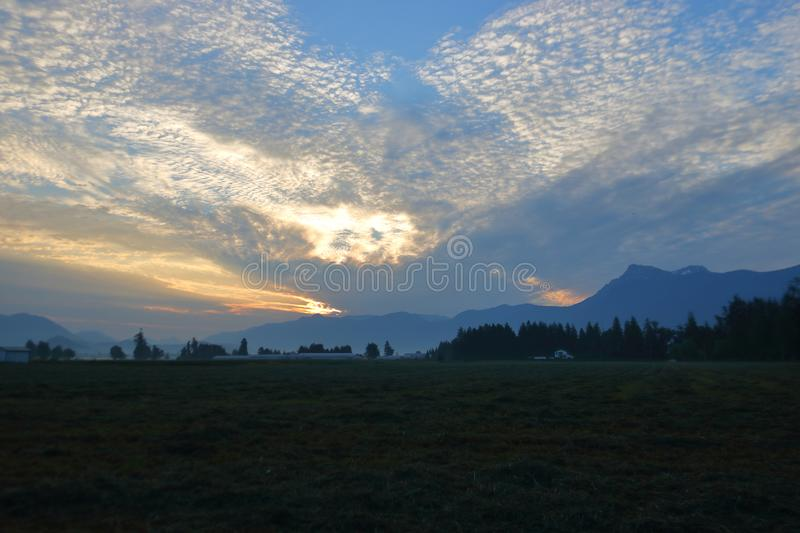 Early Morning Sunrise in Farming Valley royalty free stock photo