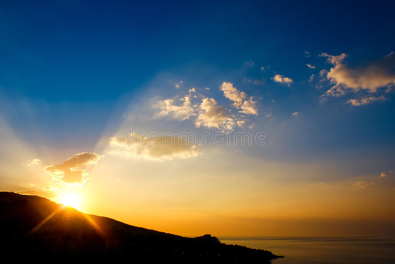 Early morning , sunrise over mountain. Picturesque view of beautiful sunrise at black sea. Gold sea sunrise landscape. stock photography