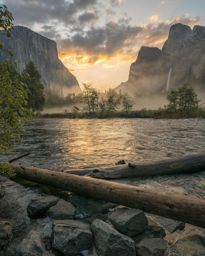 Early morning sunrise in Yosemite National Park stock images