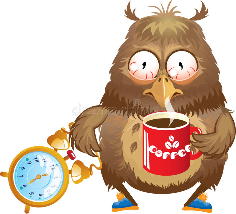 Early morning time - funny owl with cup of coffee royalty free illustration