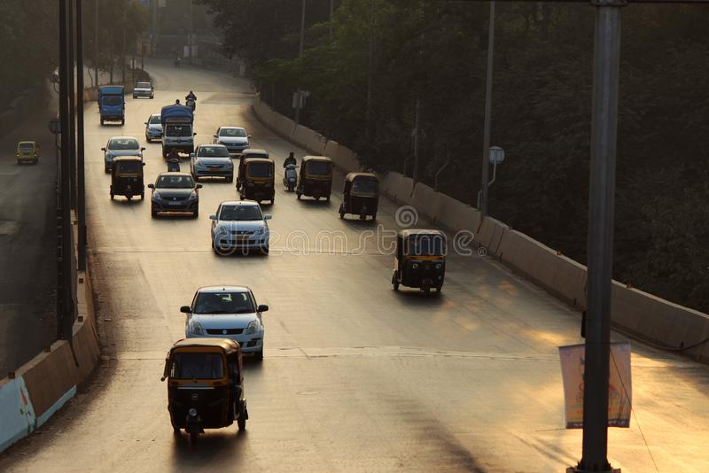 Early morning traffic on the road, Pune, Maharashtra stock photos