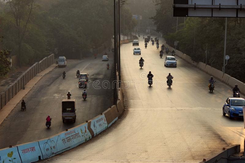 Early morning traffic on the road, Pune, Maharashtra stock photo