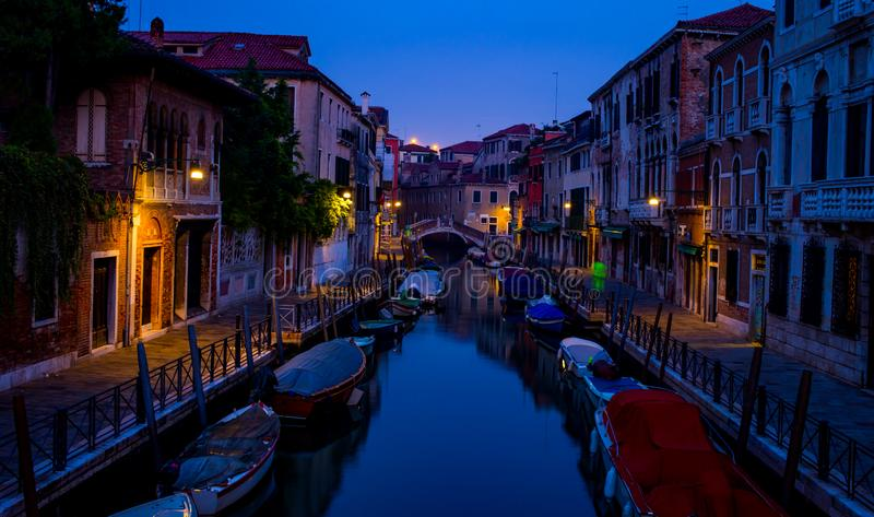 Early morning in Venice with lights royalty free stock images