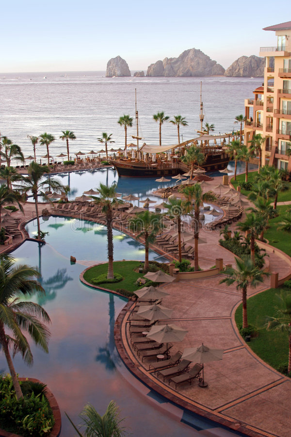Early Morning View. A view from a balcony during the early morning at a luxury resort in Cabo, Mexico royalty free stock photos