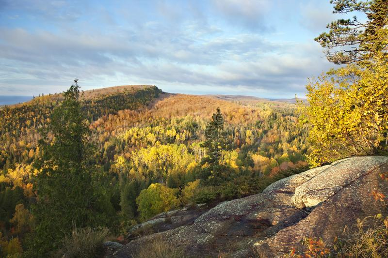 Early morning view of hills along Lake Superior in the fall royalty free stock images
