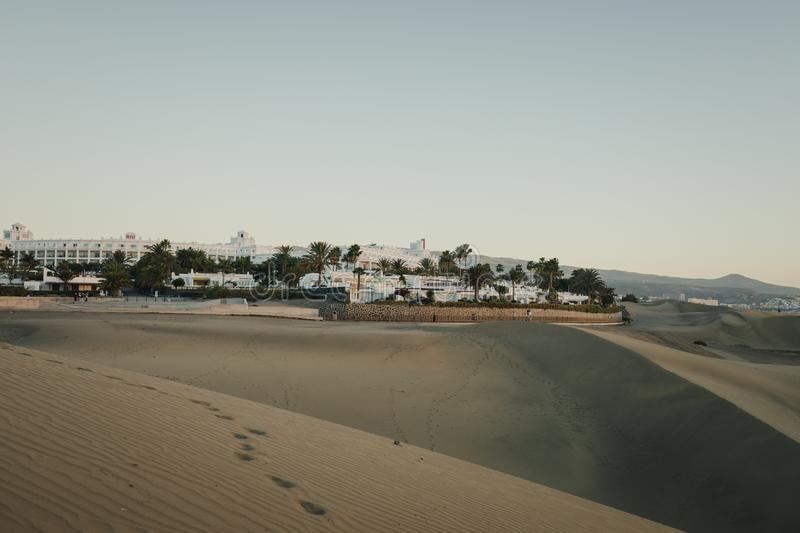 Early morning view of sand dunes in Maspalomas Dunes in Gran Canaria, Canary Islands stock photo