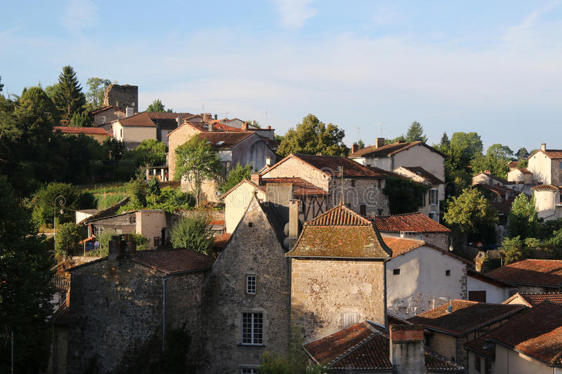 Early morning view of medieval Confolens, France royalty free stock photos