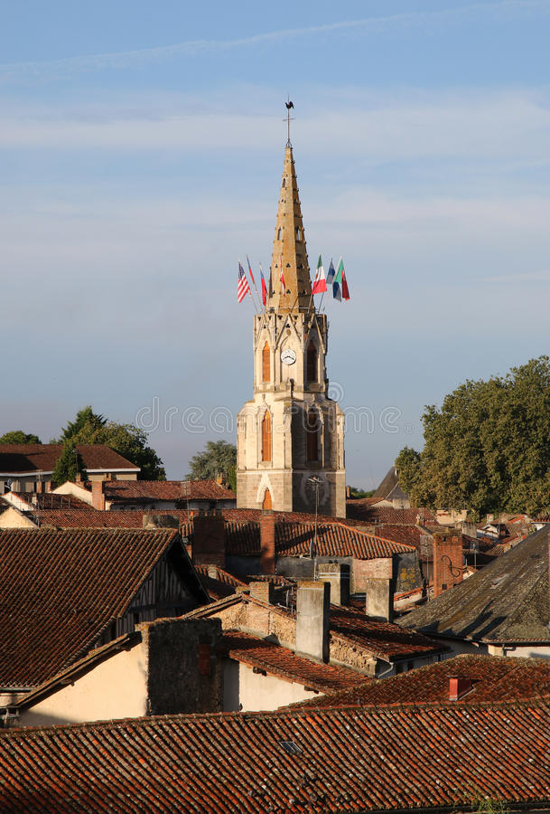 Early morning view of medieval Confolens, France stock images