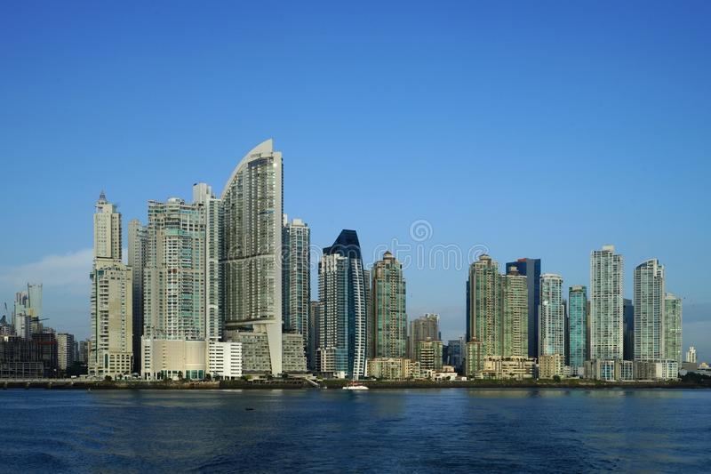 Early morning view of Panama City skyscrapers royalty free stock photos