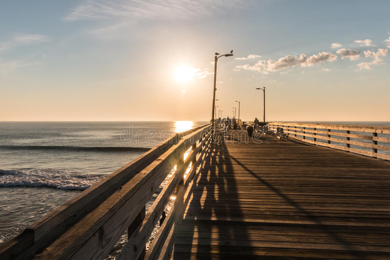 Early Morning on Virginia Beach Fishing Pier stock photography